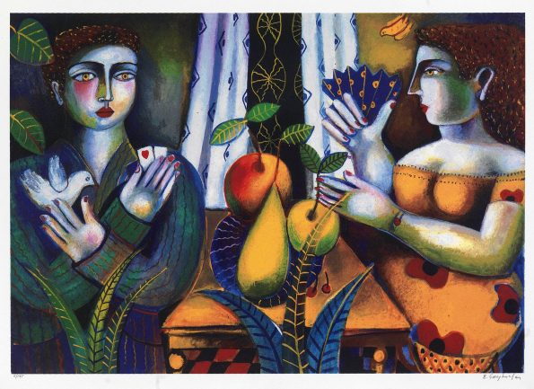 Couple with fruits
