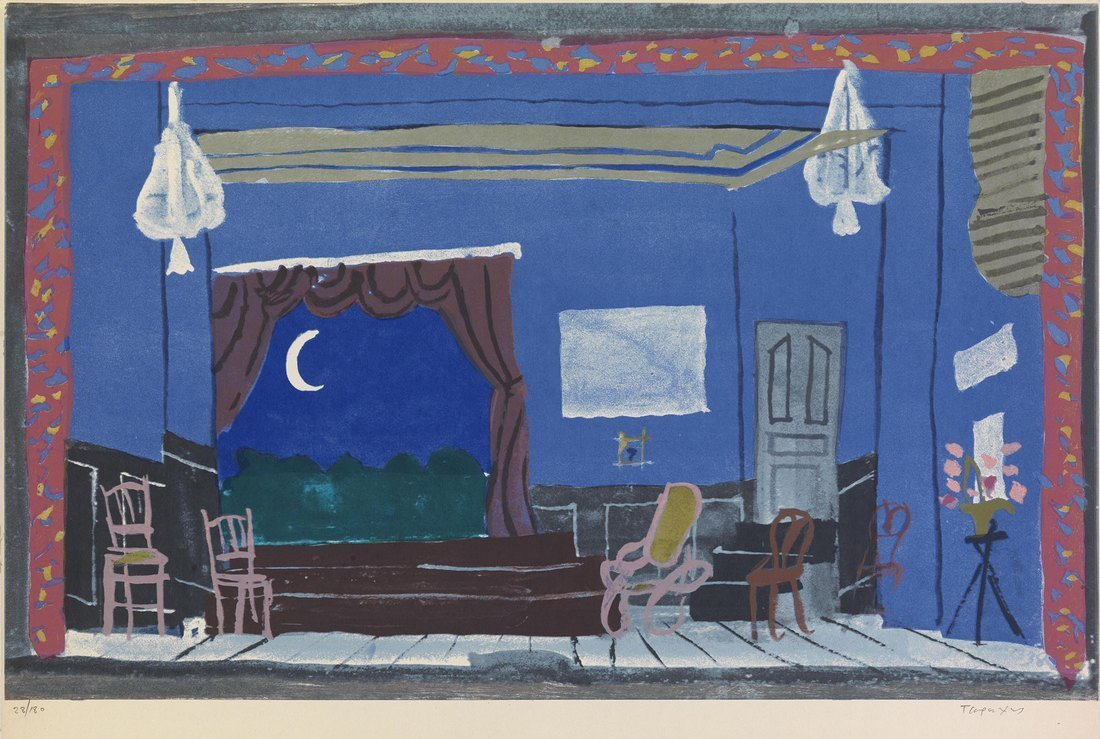 Scenery No.3 (Spanish night) Silkscreen by Yannis Tsarouchis at Ikastikos  Kiklos Sianti Gallery.