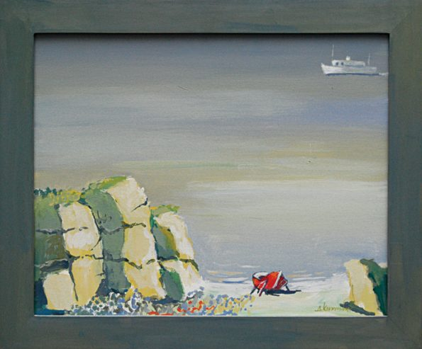 Βράχια κόκκινη βάρκα