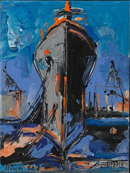 The Blue Ship View Mina Papatheodorou Valirakis Profile on Ikastikos Kiklos Sianti Gallery.