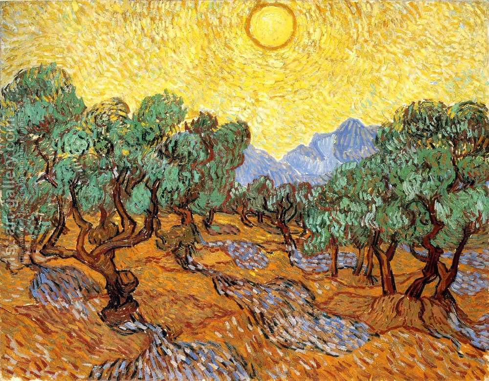 Van Gogh, Olive-Trees-With-Yellow-Sky-And-Sun