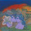 Ζευγάρι με Άνθη Ζωγραφικό Έργο του Γιώργου Σταθόπουλου στον Εικαστικό Κύκλο Sianti